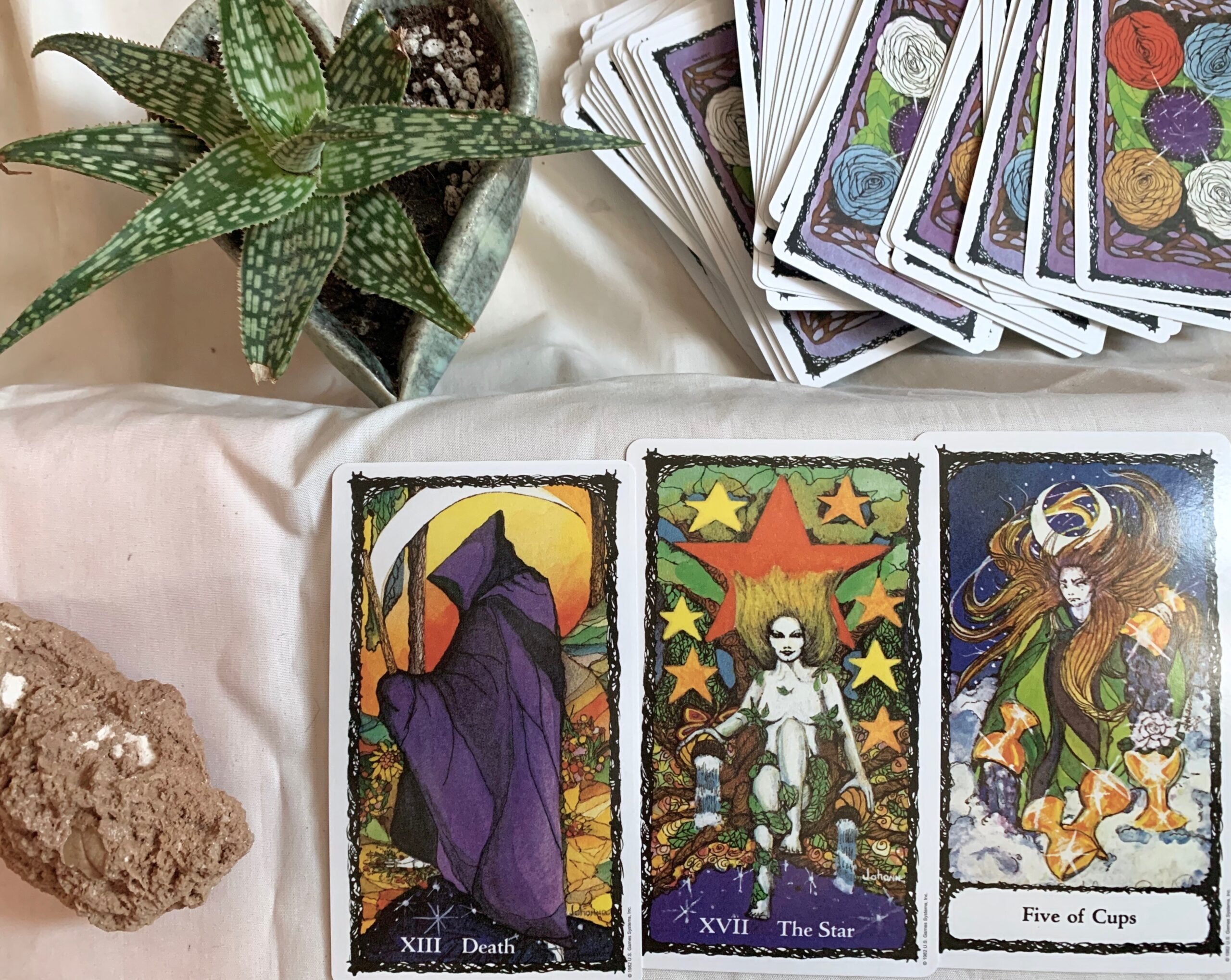 new moon tarot reading with sacred rose tarot deck